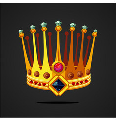 antique fantasy crown with jewel cartoon style vector image
