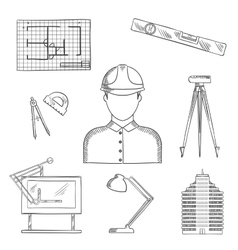 Architect and engineer profession icons vector