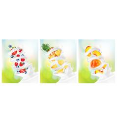 big collection of fruit in a milk splash vector image