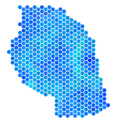 Blue hexagon tanzania map vector