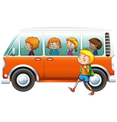 Boy walking pass camper van vector
