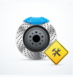 Brake disc with service icon vector
