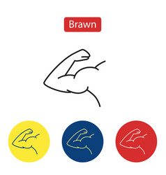 Brawn line fit icons vector