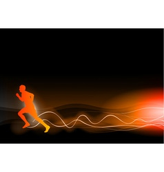 burning runner on the dark vector image