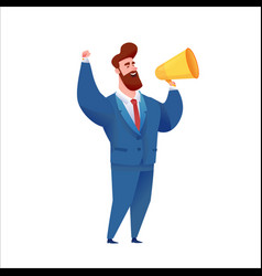 business man in suit with megaphone vector image