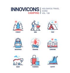 camping - modern line design style icons set vector image