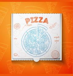 cardboard box with pizza salami vector image