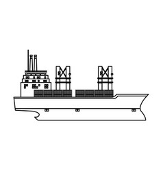 Cargo ship containers export cranes industrial vector