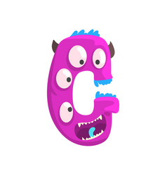 Cartoon character monster letter g vector