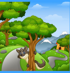 cartoon wolf lurking in the forest road vector image