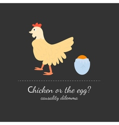 Chicken or the egg dilemma vector
