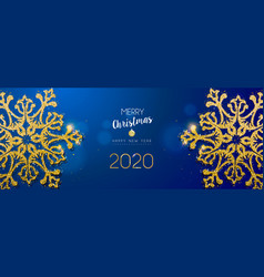 christmas and new year banner gold snowflake vector image
