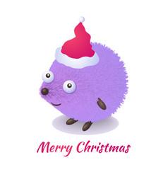 christmas hedgehog vector image