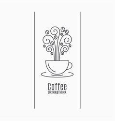 Coffee cup logo coffee linear concept on white vector