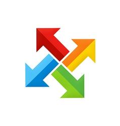 colorful arrow dynamic circle logo vector image
