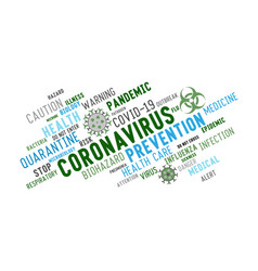 Coronavirus word tag cloud typography on a white vector