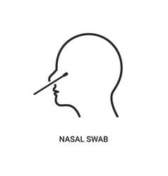 covid19 nasal swab icon corona virus nasal pcr vector image