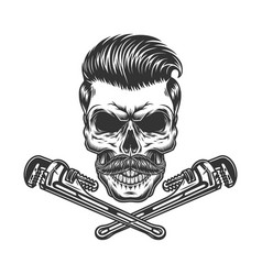 Crossed pipe wrenches and mustached skull vector