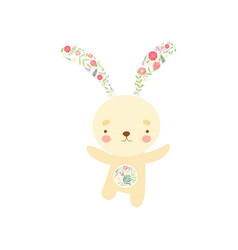 cute bunny with ears and tummy made floral vector image