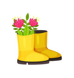 cute pink flowers in bright yellow rubber boot vector image