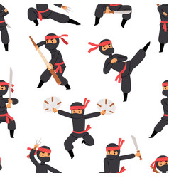 different poses ninja fighter in black cloth vector image