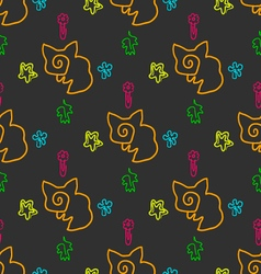 Doodle seamless pattern with foxes and stars vector