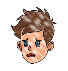 drawing character face head boy kid cry vector image
