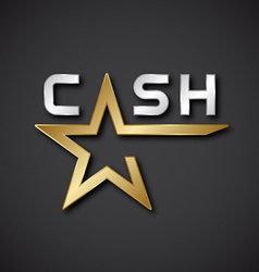 EPS10 cash golden star inscription icon vector image