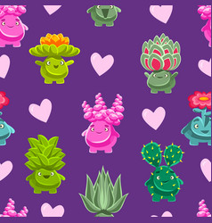 fantasy plants characters seamless pattern cute vector image