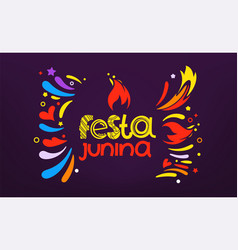 festa junina festival party flyer colorful vector image