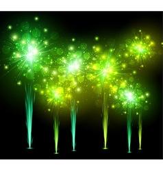 Festive green firework background vector