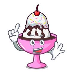 Finger ice cream sundae mascot cartoon vector