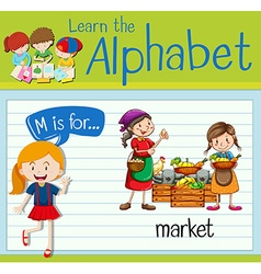 Flashcard letter M is for market vector image