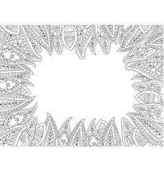 Floral hand drawn paisley frame in entangle vector