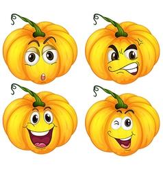 Four pumpkins vector image
