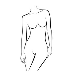Front view female stylized half body contour vector