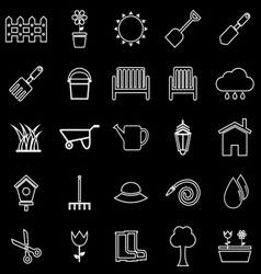 Gardening line icons on black background vector image