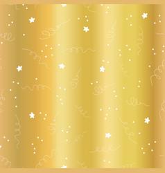 Gold foil star confetti curls pattern vector