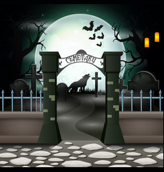 Halloween background with cemetery in full moon vector