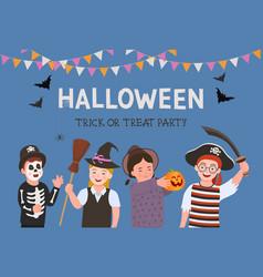 halloween party poster kids costume vector image