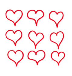hand draw hearts icon design vector image