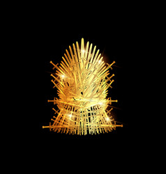 hand drawn golden iron throne isolated on black vector image