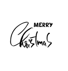 hand drawn phrase merry christmas modern dry vector image