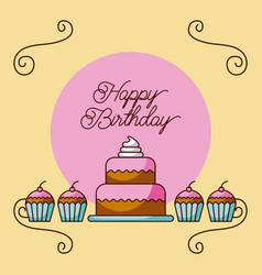 happy birthday cake and cupcakes dessert bakery vector image