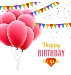 Happy birthday card with pink balloons and vector