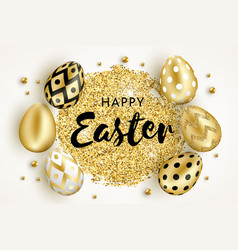 Happy easter golden eggs design white vector