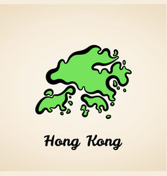 Hong kong - outline map vector