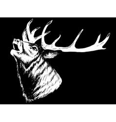 Horned Deer Howling vector