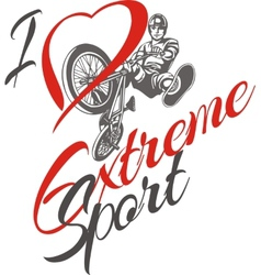 I love extreme sport BMX rider - vector image