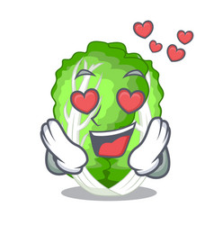 In love cartoon fresh chinese cabbage vegetable in vector